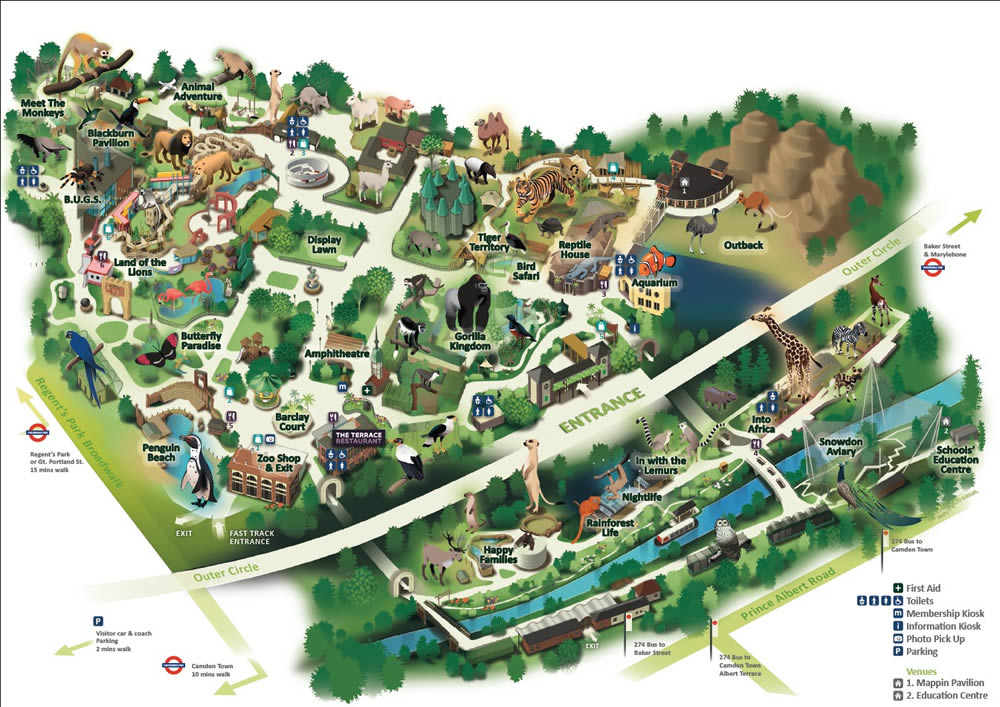 Mappa Zoo Londra
